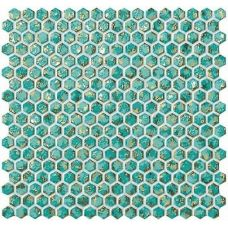 6DHT Dwell Turquoise Hexagon Gold 30x30